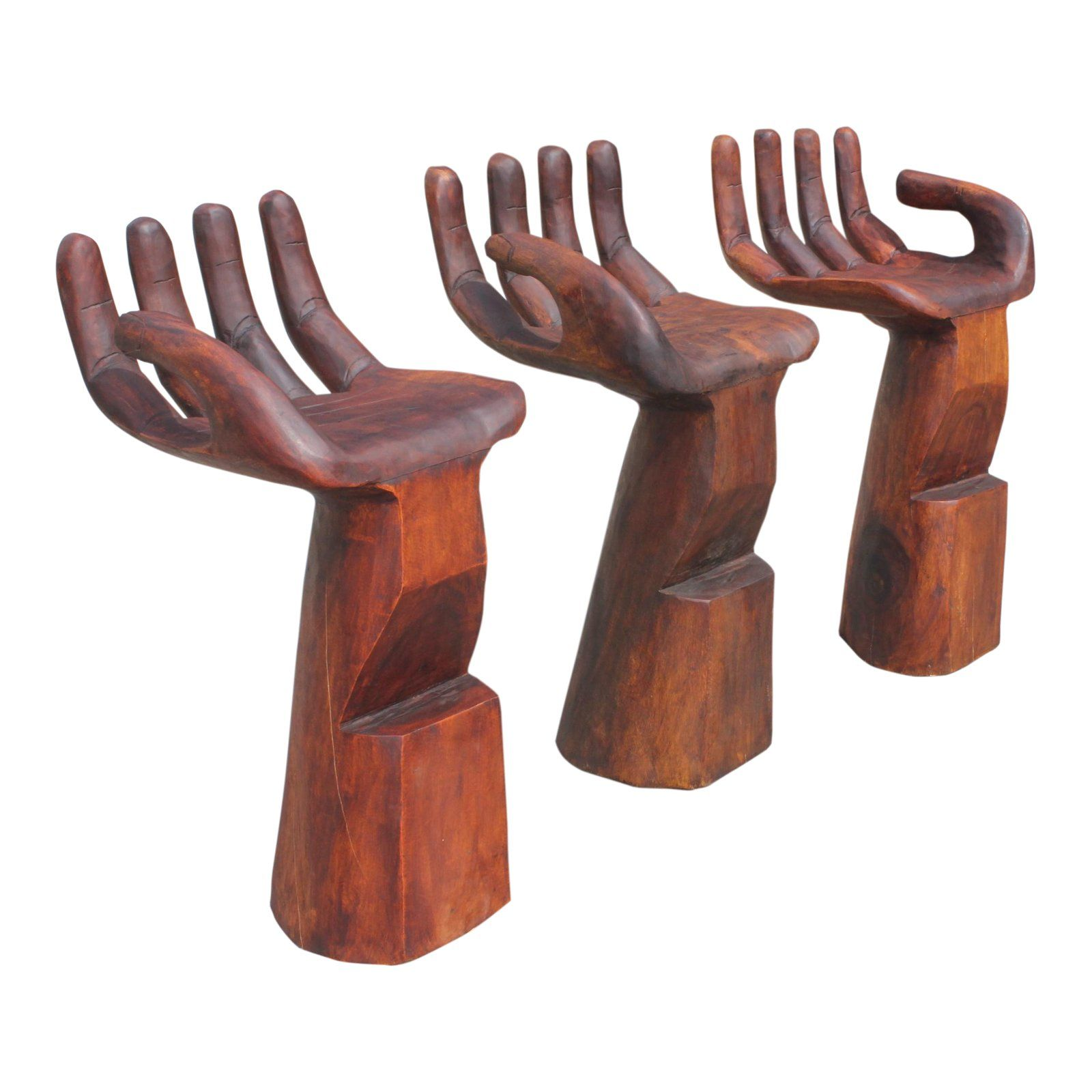 Mid Century Modern Hand Carved Bar Stool Chairs In The Style Of