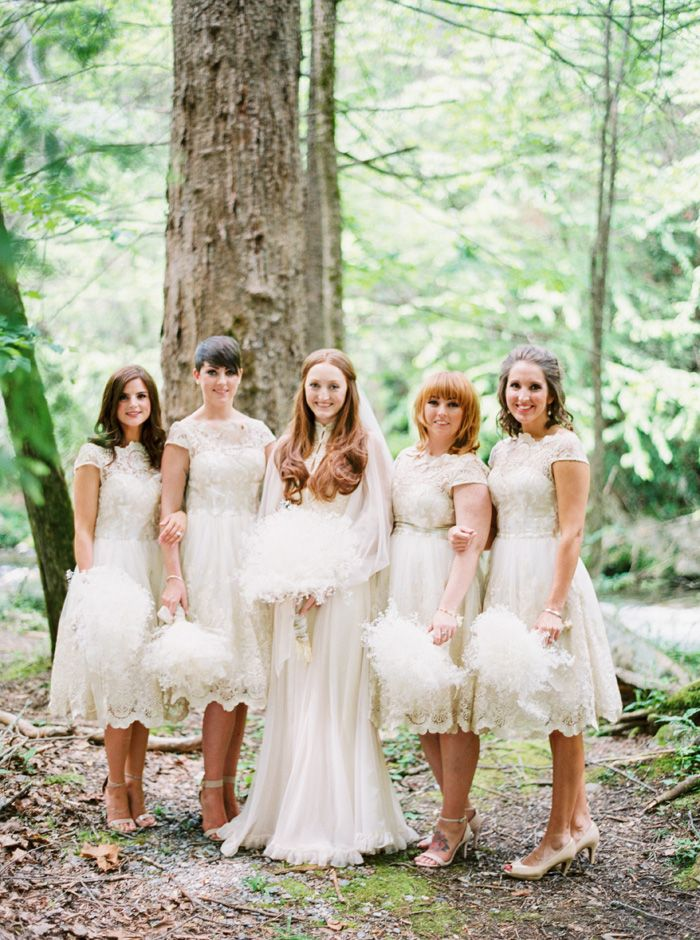 A Bride In Vintage 70s Wedding Gown and bridesmaids in lace dresses | fabmood.com