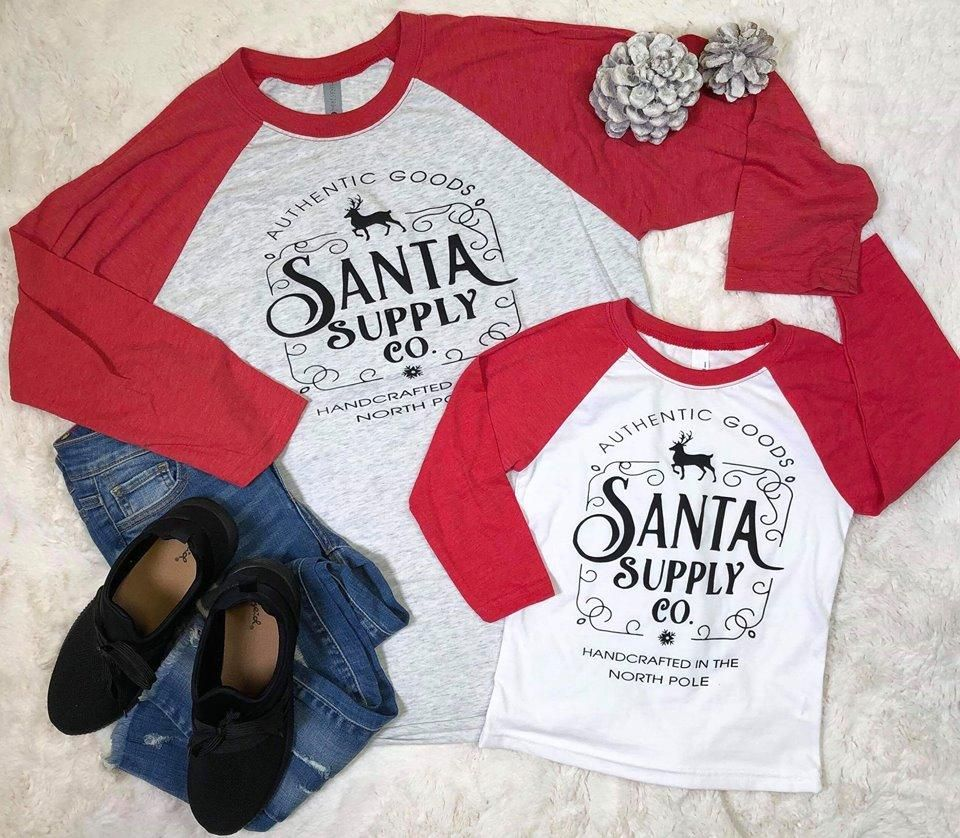 SideKick Collection: Santa Supply Co. Baseball Tee -   14 holiday Logo trees ideas
