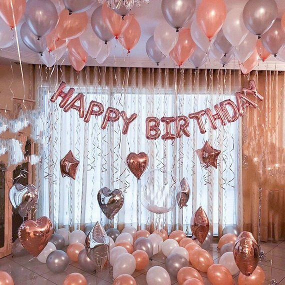 Rose Gold Happy Birthday Decoration   Rose Gold 21st Birthday Party Ideas Decor   16th 18th Rose Gold Birthday Party Banner Sign