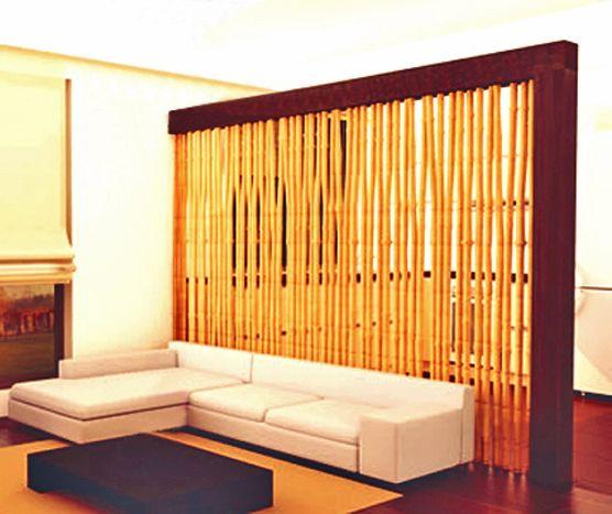Divisorio (soggiorno - zona pranzo) in bambù e legno  Pareti divisorie  Pinterest