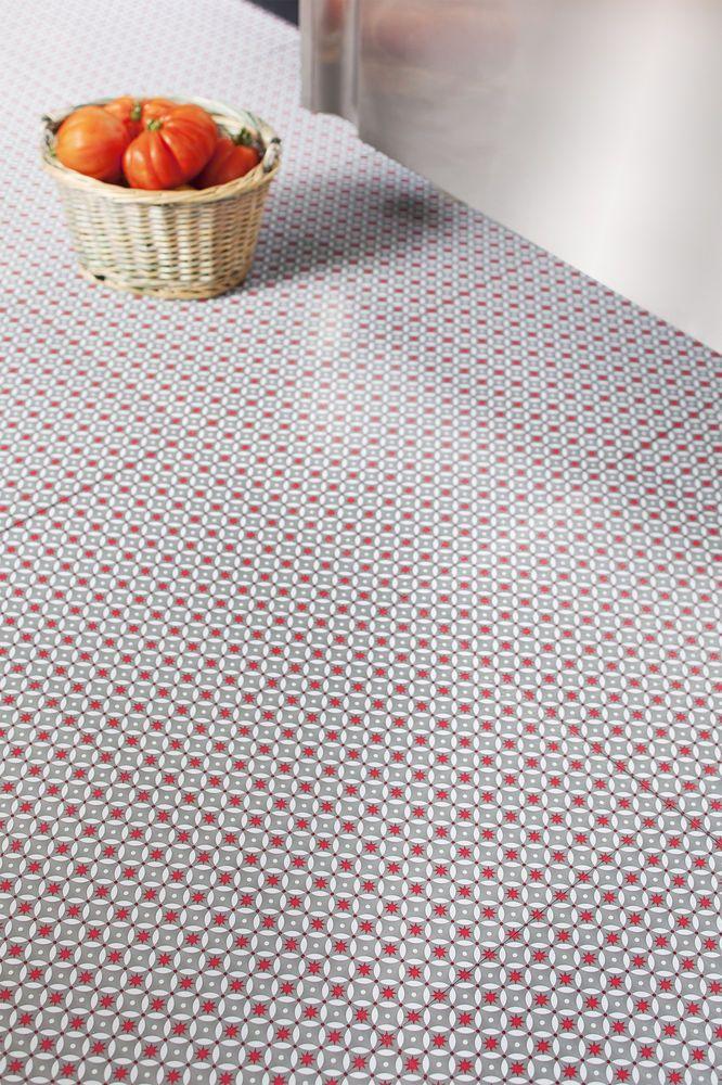 Grey/Red Vinyl Floor Tiles - Red Stars - £19.99 per M2. Retro funky pattern