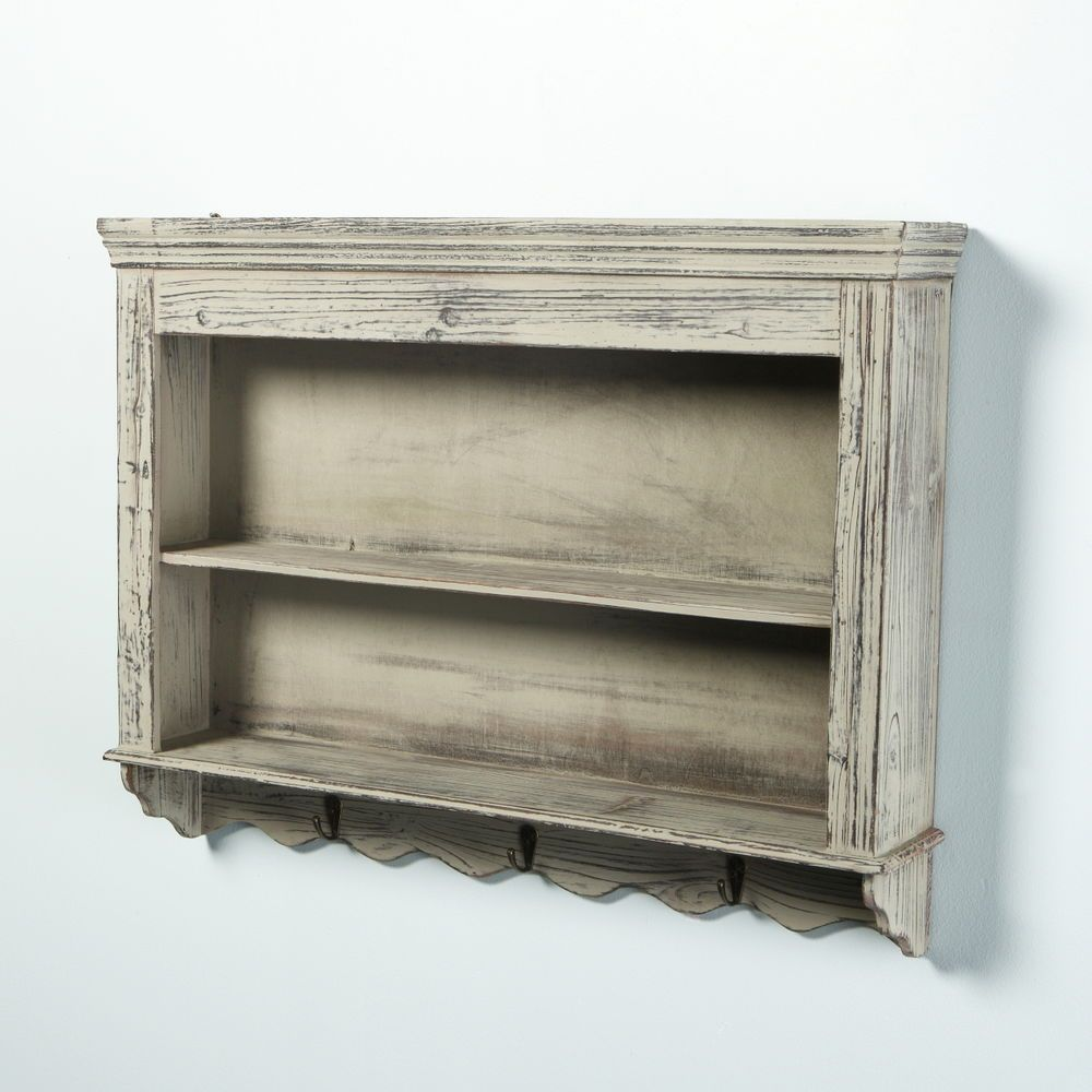 Vintage shabby chic distressed wooden wall shelves for Wooden bathroom shelving unit