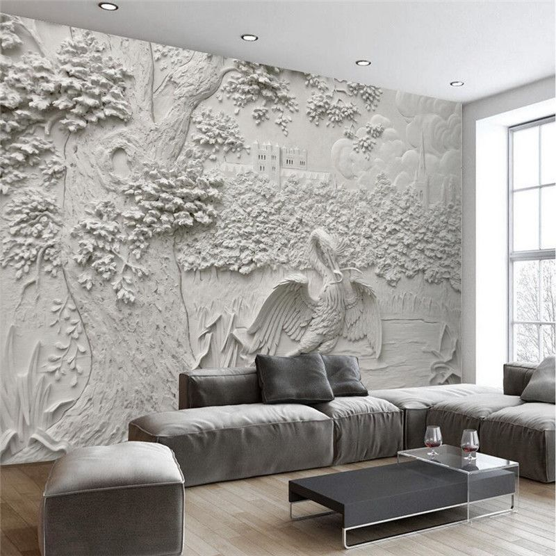 Custom Any Size Modern Wall Paper Living Room Background White