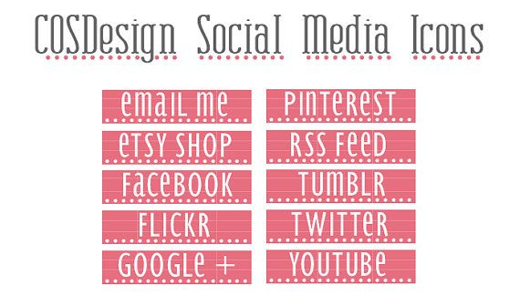 Pink Dot Blog Buttons 10 Social Media Buttons by cosdesign on Etsy, $2.00