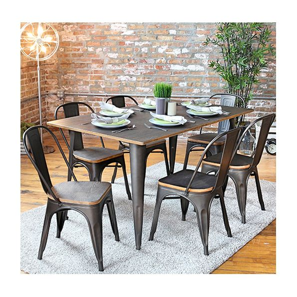 Oakland Contemporary Rustic Dining Table + Chairs | Industrial Furniture |  Loft Living | Exposed Brick