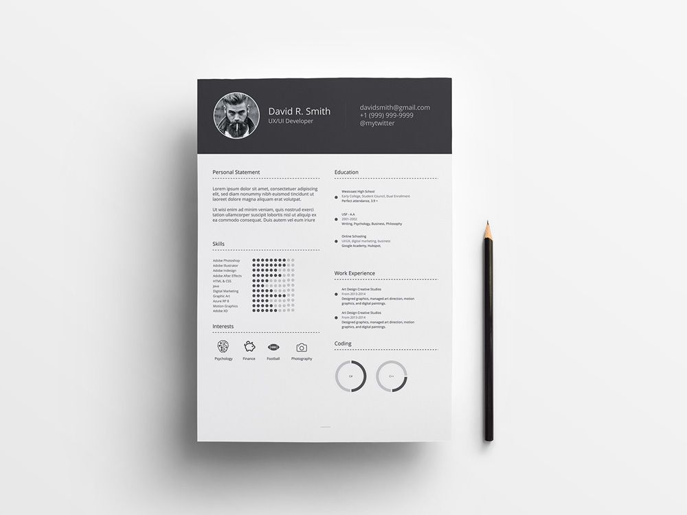Free infographic resume template with simple style design for any - Simple Format For Resume