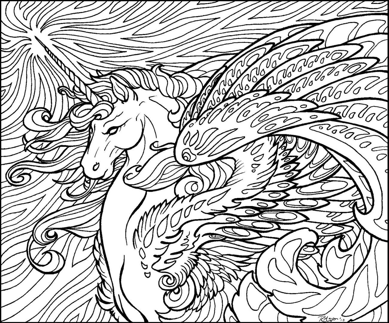 Star Wave Unicorn Lineart By