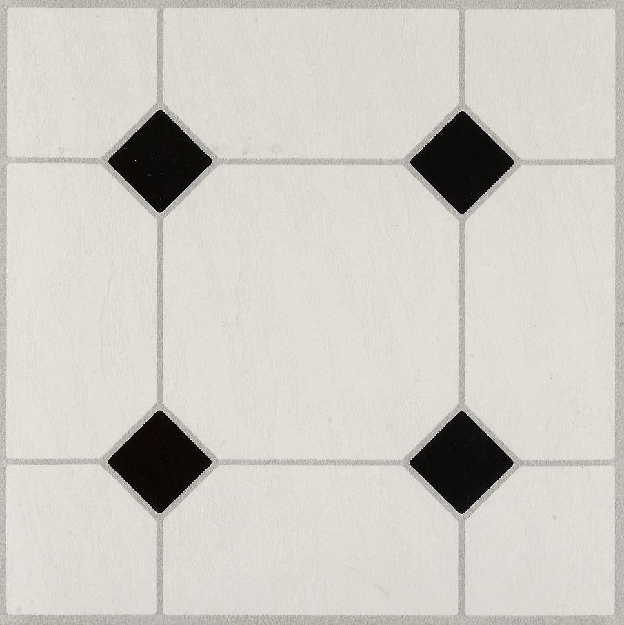 Diamond Jubilee Black White 24320 Vinyl Tile White Vinyl