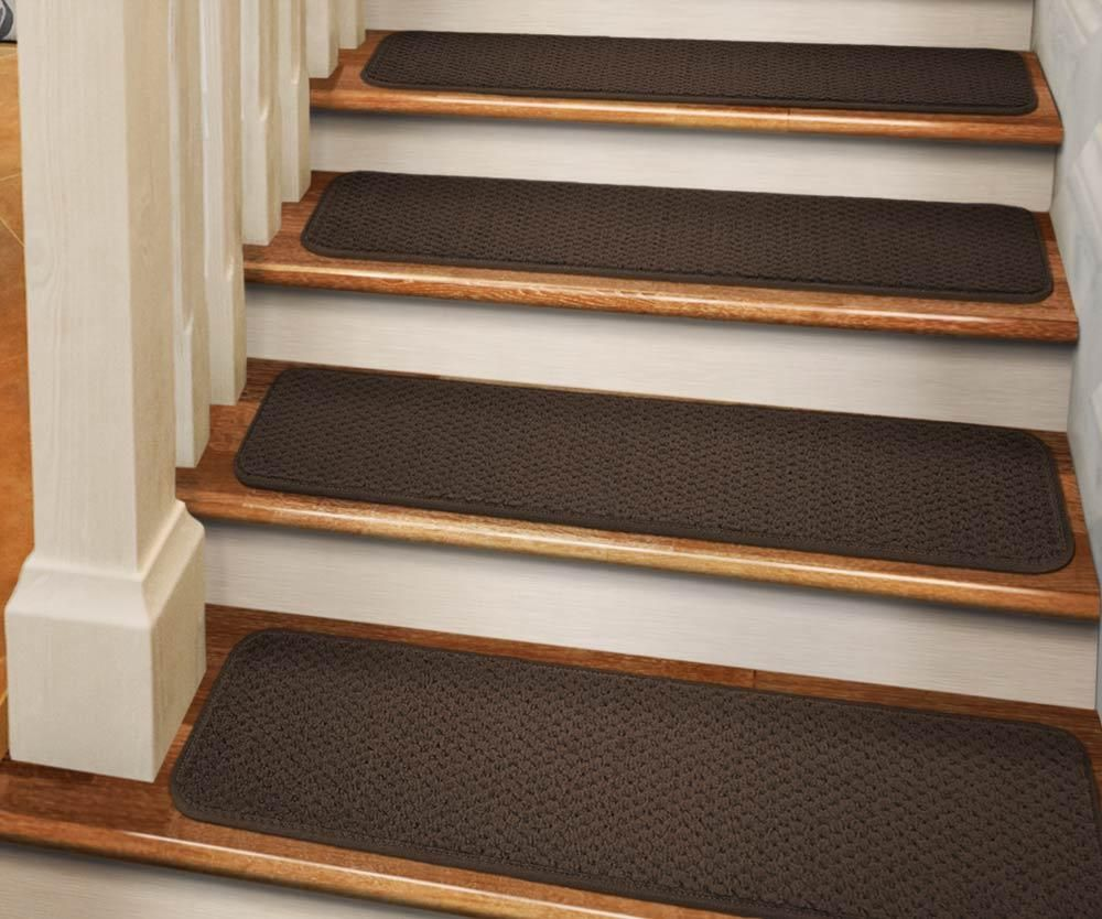 Best Set Of 12 Tape Down Carpet Stair Treads Chocolate Brown 400 x 300