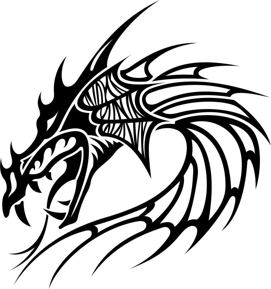 Cabezas De Dragones Para Tatuar tribal dragon tattoo vector free vector | tatuaje cabeza de