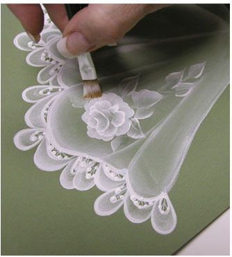 step-by-step sheer rose doily & lace trim #tolepainting
