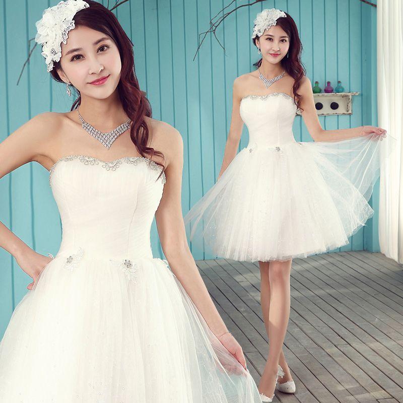 2014 Short Fashion Wedding Dress Cute Tube Top Chiffon Ball Gown ...