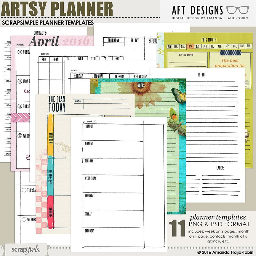 ScrapSimple Planner Templates Artsy Planner Essentials A5 - daily diary template