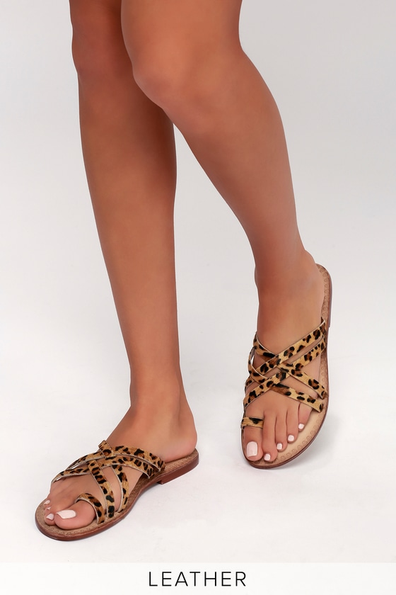 Pony Fur Slide Sandals   Leopard shoes
