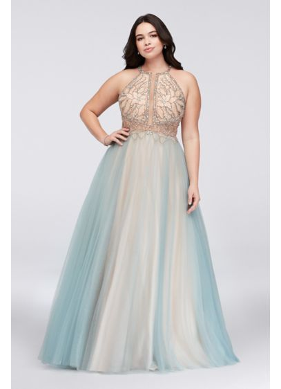 967aea795d Layered Tulle Plus Size Gown with Beaded Bodice Style 1611P1238DW ...