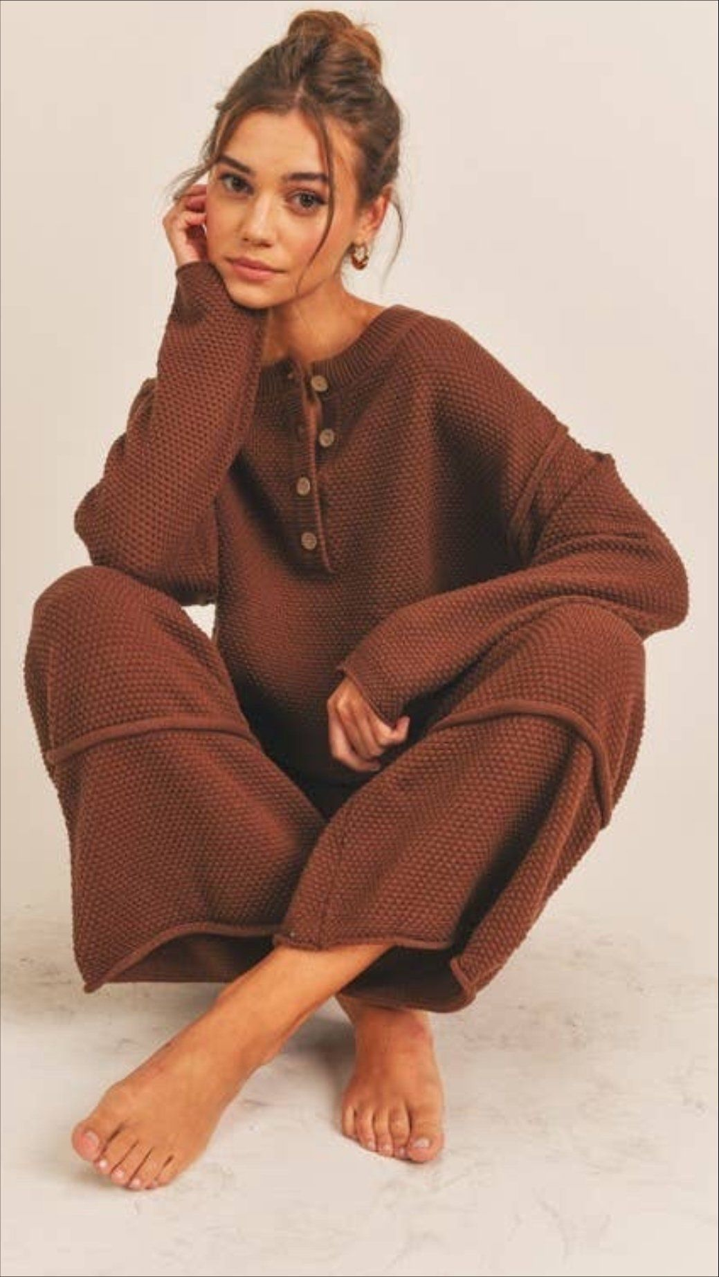 Cacao Knit Two Piece Lounge Set - M