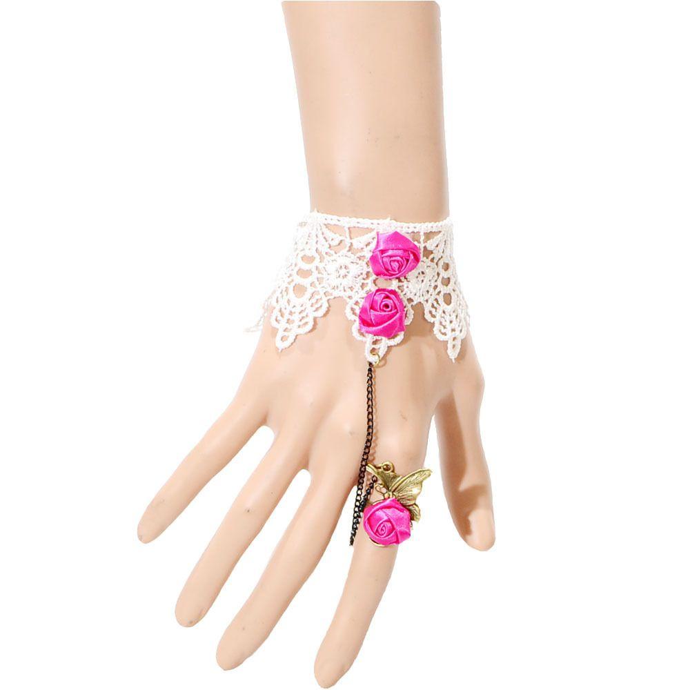 Women's Charm retro vintage pink flower white Lace Bracelet Gothic Party Wedding I want this