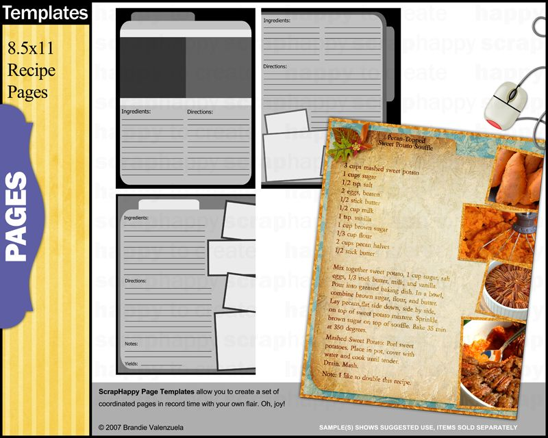 ScrapHappy Page Templates Recipe Pages Recipe Binders Pinterest