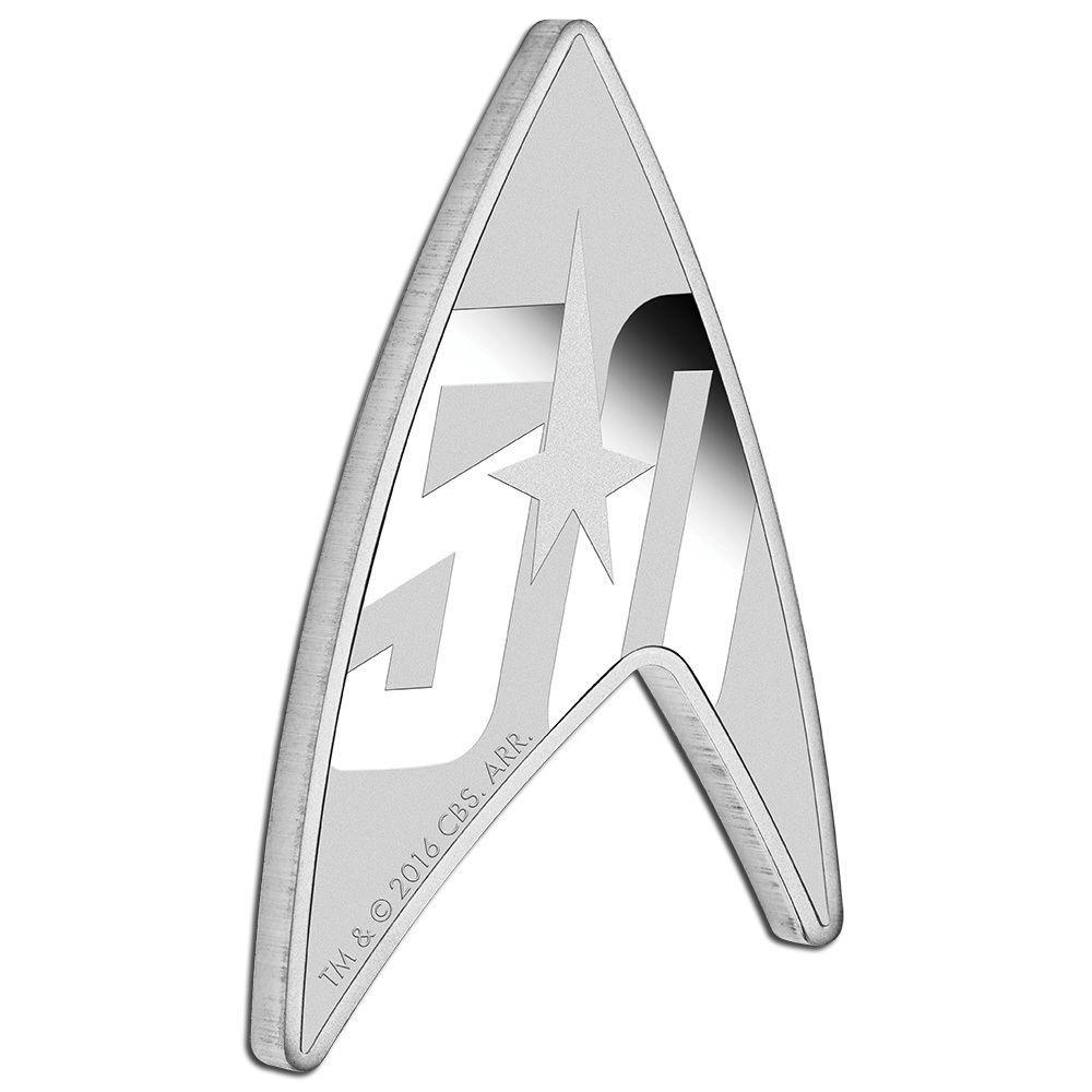 STAR TREK Silbermünze DELTA 50 Jahre USSS Enterprise aus Tuvalu ungewöhnliche Form 2016 Silber PP