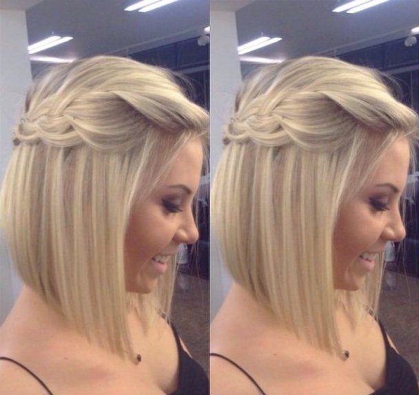 Medium Hair Style So Pretty Would Be Lovely For A Bride Or Bridesmaid With Few Tiny Flowers Bling Through It