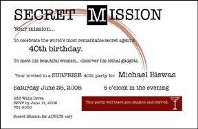 Surprise Party Invitation Secret Mission | James Bond | Pinterest ...