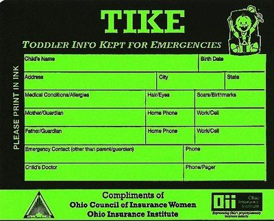 Tike Sticker Toddler Info Kept For Emergencies Free Stickers From