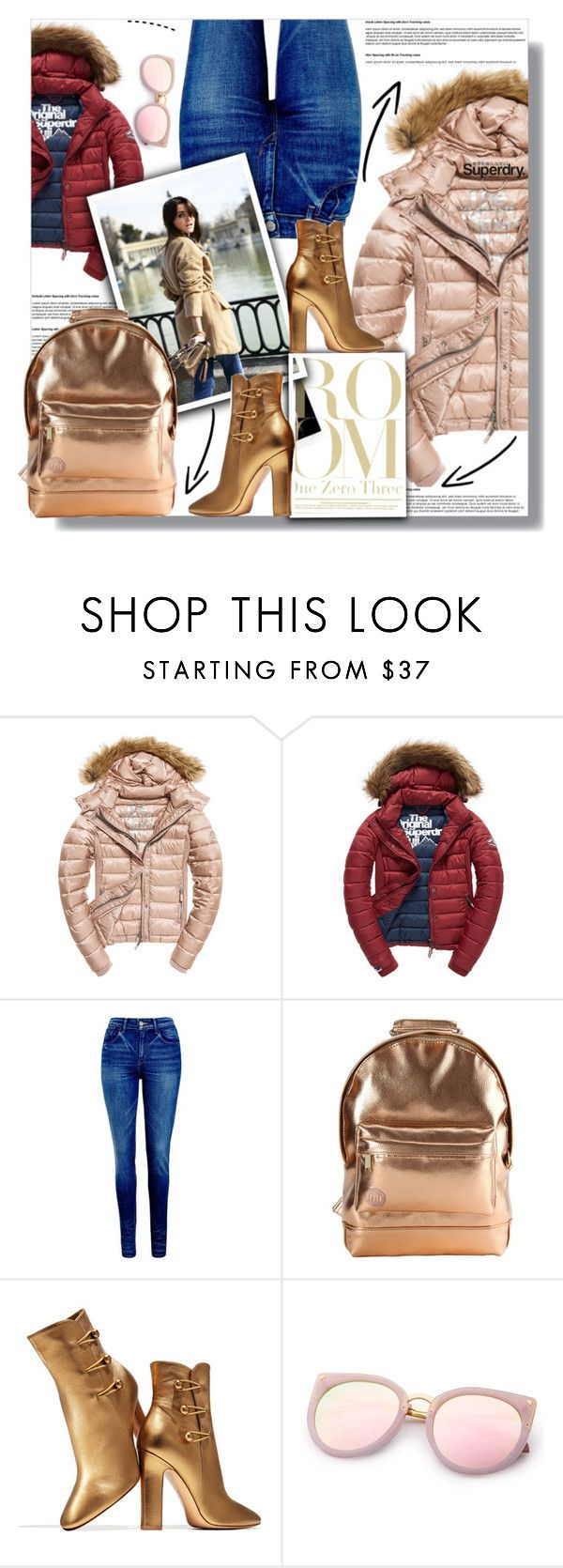 """""""The Cover Up – Jackets by Superdry: Contest Entry"""" by sweta-gupta ❤ liked on Polyvore featuring Fuji, Levi's, Mi-Pac, Gianvito Rossi and Superdry"""