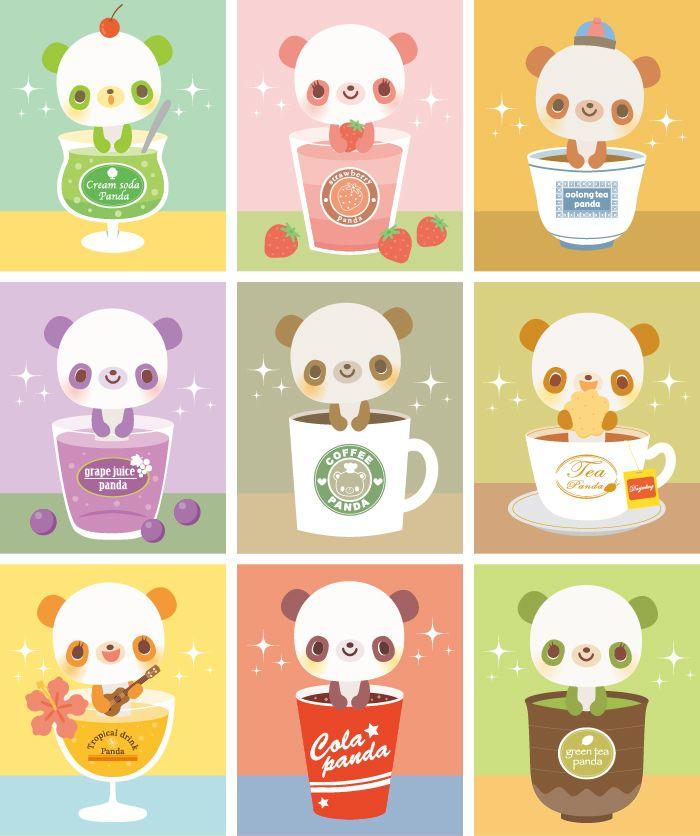 カフェパンダ 動物幼児子供向けのかわいいイラスト