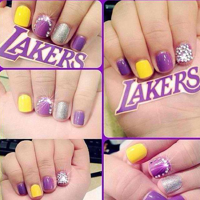 Lakers Nails Sports Nails Basketball Nails
