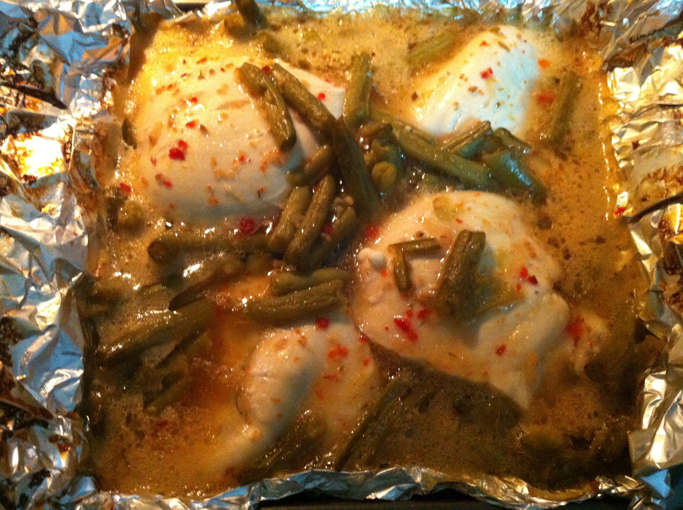 Italian dressing, boneless chicken breast.... Bake 350, covered 30mins, uncovered 30. Easy, great tasting, meal!