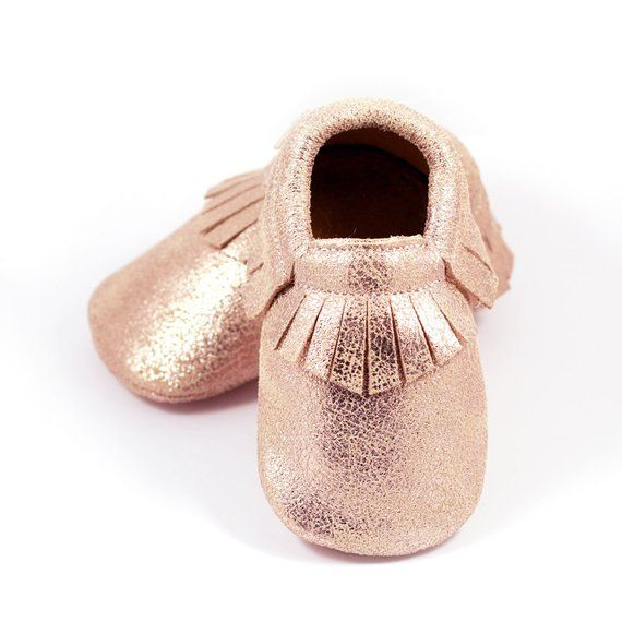 Rose gold baby leather shoes f4d741701