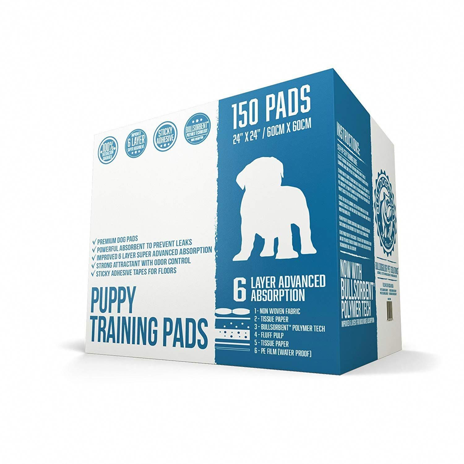 Bulldogology Premium Puppy Pee Pads With Adhesive Sticky Tape 24x24 Large Dog Training Wee Pads With 6 Layer Extra Quick Dry Puppy Pads Dog Pee Pads Pee Pads