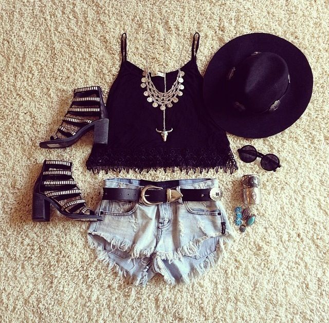 #style #outfit #stylish #love #shirt #jean #short #heels #bag #fashionable #hat #black #sunglasses #necklace #fashion