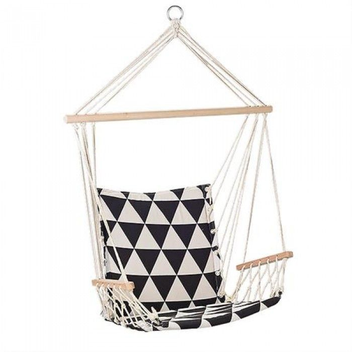 Bloomingville Hangstoel Hammock Zwart Wit Triangle Homekidroom