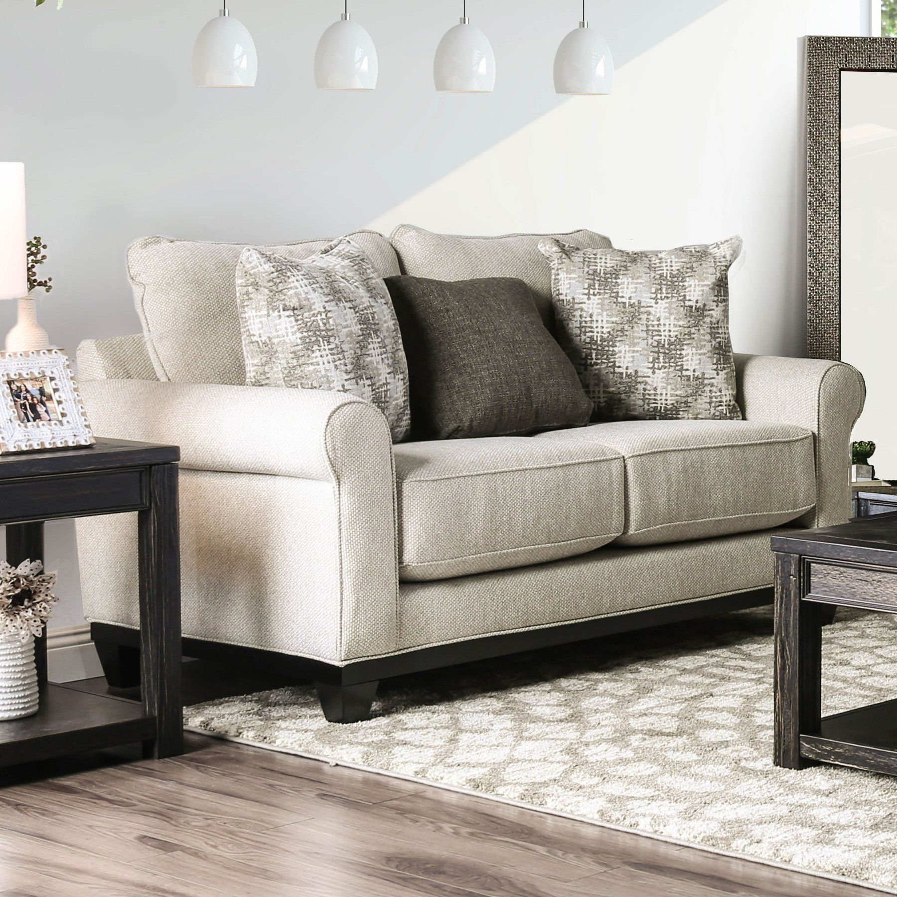 Furniture of America Glynndale Stain Resistant Loveseat in
