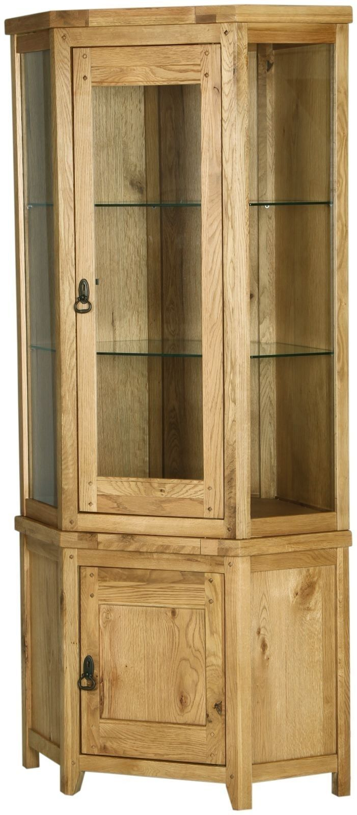 Genoa Solid Oak Furniture Glazed Corner Display Cabinet Stand Unit Magnificent Corner Cabinets Dining Room Furniture Design Inspiration