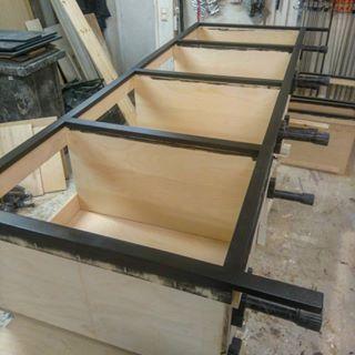 Kitchen island cabinets under construction   #rustic #maison #cottage #countrystyle #country #rustiikki #uusvanha  #decorating #interior #furniture #sisustus #maalais #salvage #woodworking #puuseppä #cabinetry #kök #kjokken #kjøkken #kitchen #maalaiskeittiö  #puuseppähaukipudas #puuseppäoulu #puusepänliike #customwoodworking #drömkök