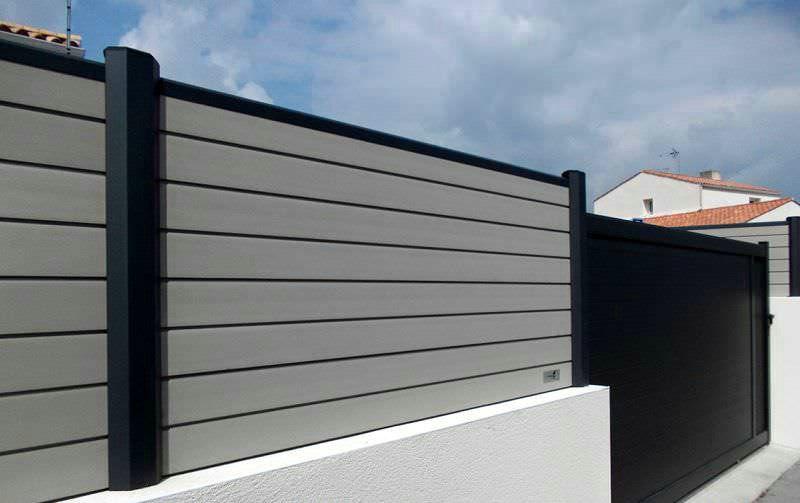 black composite fence in backyard composite wood fence. Black Bedroom Furniture Sets. Home Design Ideas