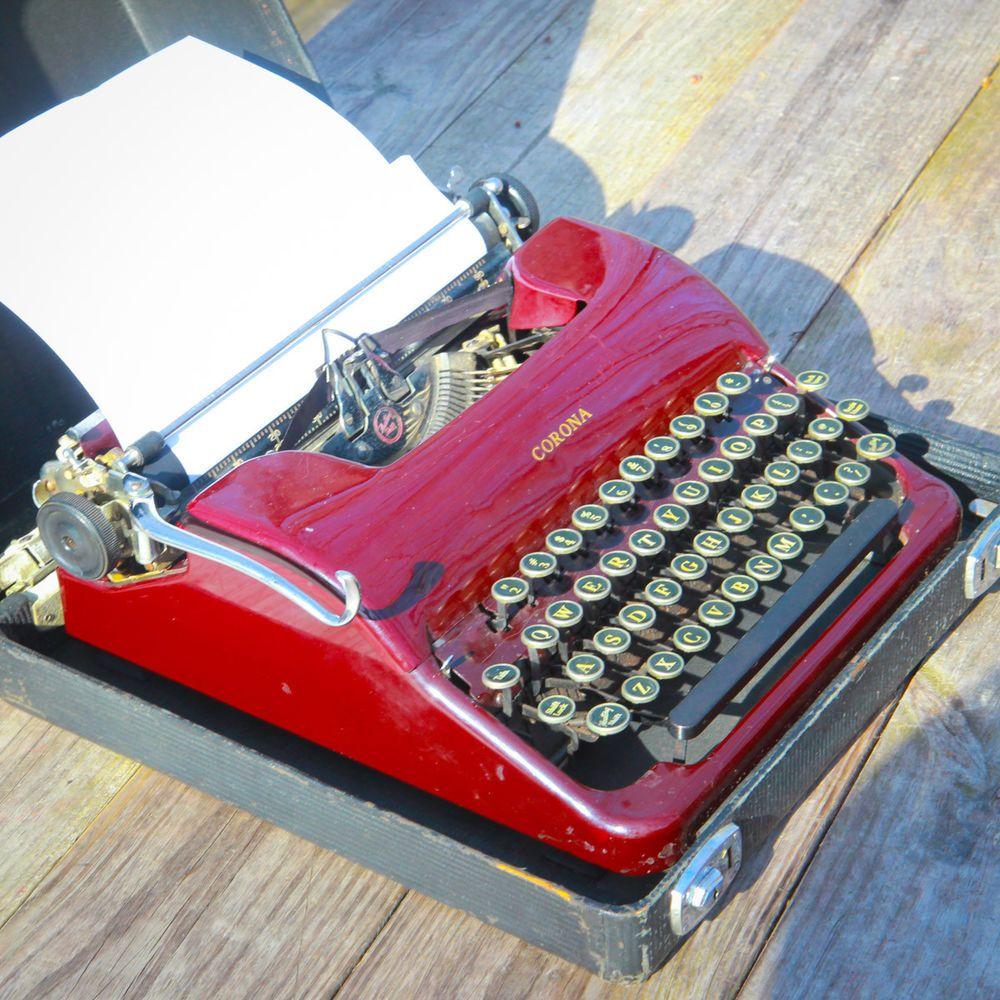 1939 Antique Smith Corona Sterling Typewriter Burgundy Maroon Red Collor Nr Corona Met Afbeeldingen