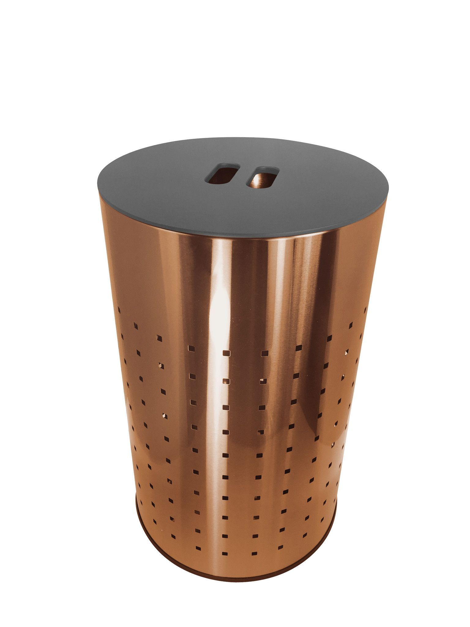 brushed copper laundry bin hamper 50l ventilated stainless steel