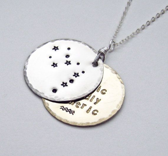 Constellation necklace, Aquarius, Pisces, Aries, Taurus, Gemini, Cancer, Leo, Virgo, Libra, Scorpio, Sagittarius, Capricorn on Etsy, $65.00