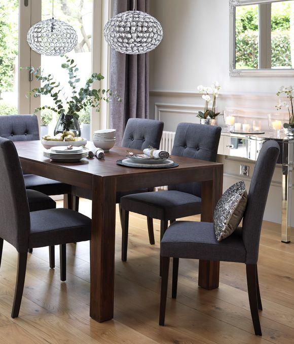 Home Dining Inspiration Ideas Dining Room With Dark Wood Dining Table And Grey Upholstered D Comedor De Lujo Diseno De Sala Comedor Diseno De Mesas De Comedor