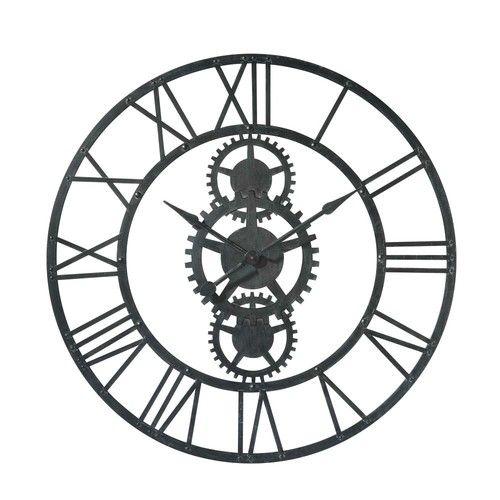 Temps Modernes Metal Clock In Black D 100cm Metal Clock Clock Gear Wall Clock
