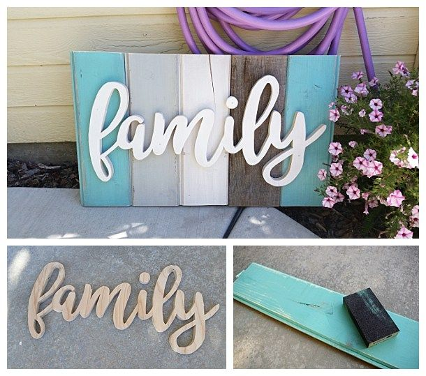 Newold distressed barn wood word art indooroutdoor home decor diy family word art sign woodworking project tutorial turquoise tones new wood distressed to look solutioingenieria Images