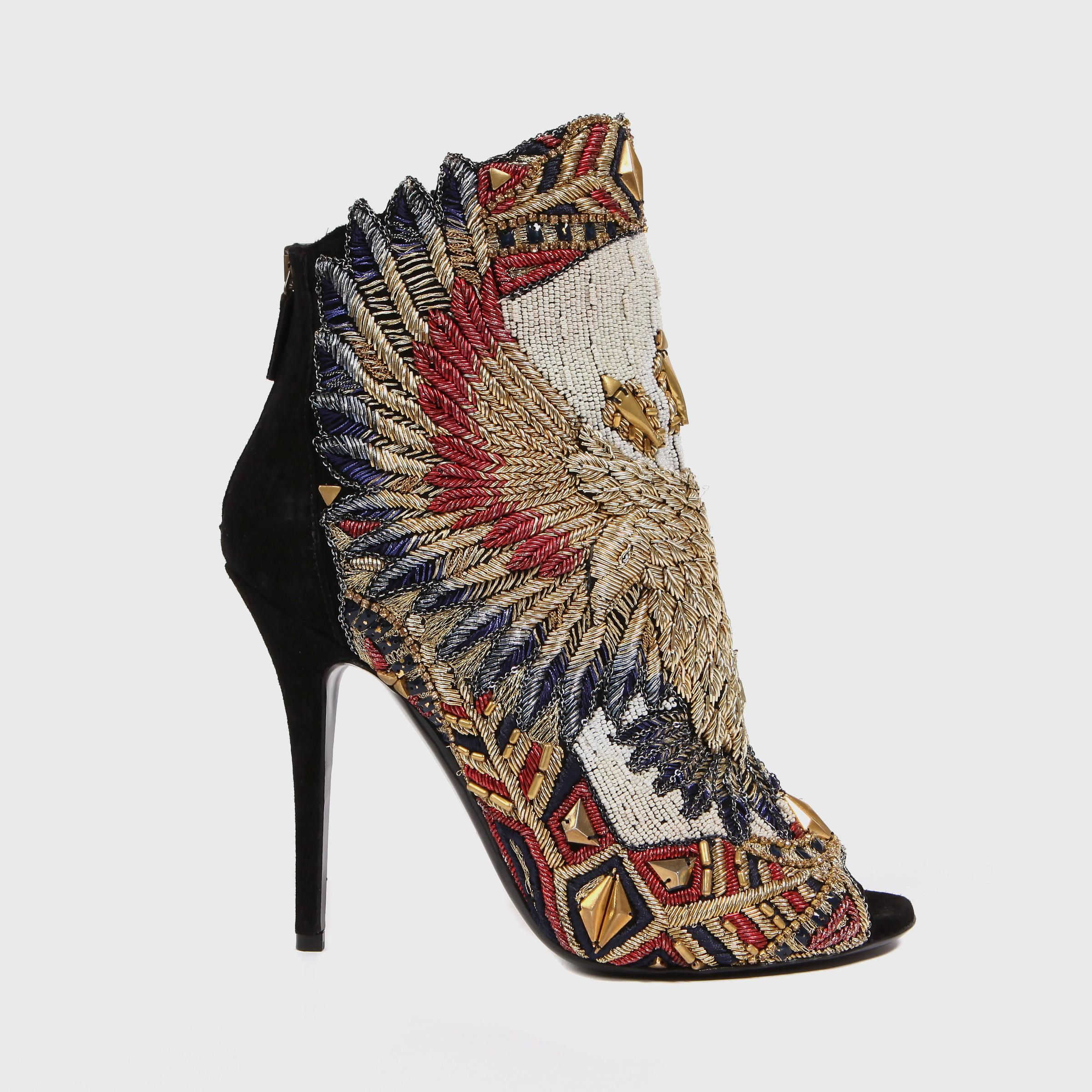 Balmain suede bootie with eagle embroidery- too awesome for words.