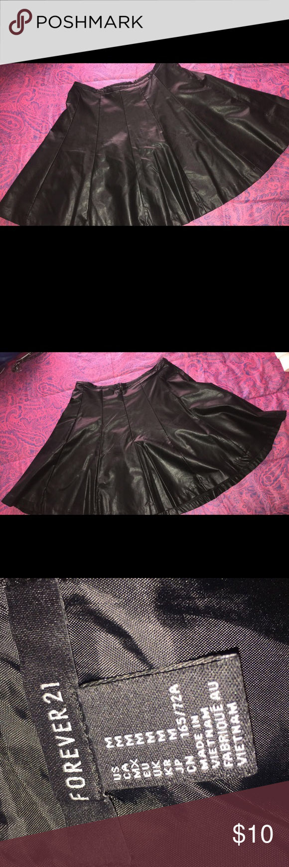 Black Leather Skirt Black leather skirt from Forever 21 Forever 21 Skirts Circle & Skater