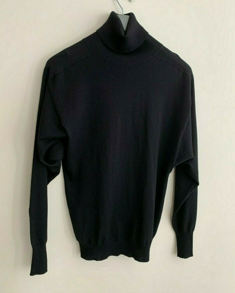 Theory Turtleneck Sweater Black Wool Silk Paulet Fluidity Dolman Sleeves S