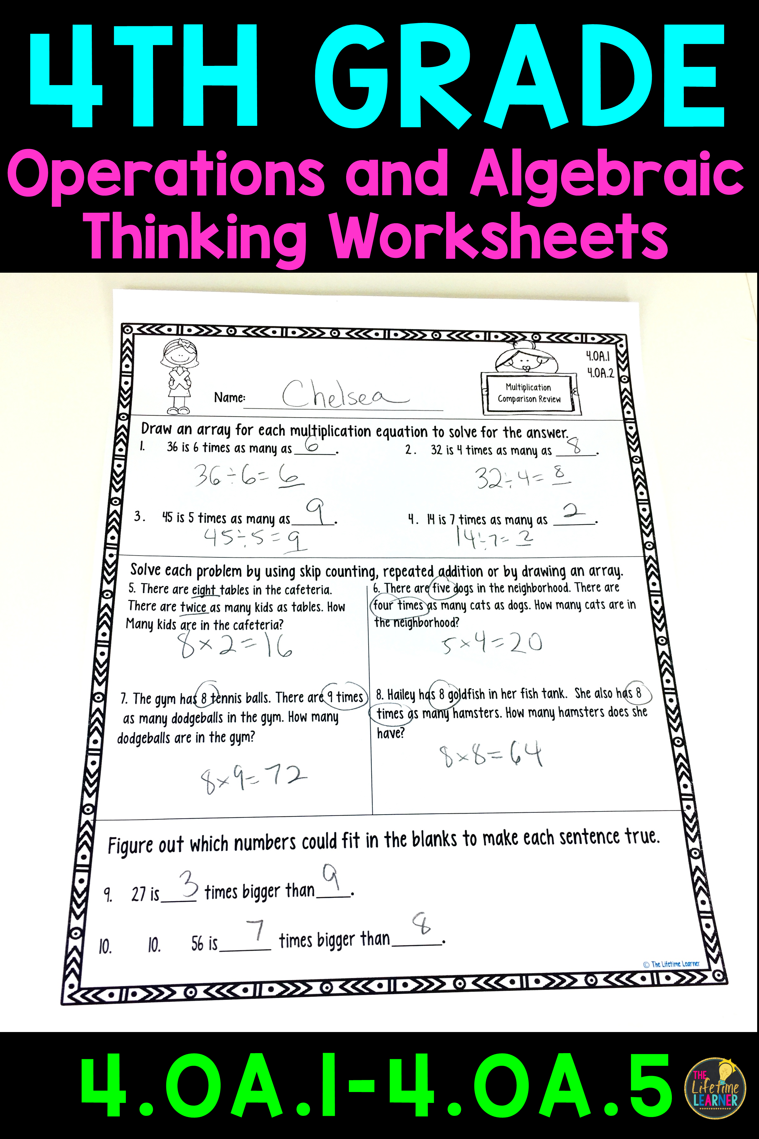 These operations and algebraic thinking worksheets are perfect for 4th  graders. The…   Division word problems [ 3684 x 2456 Pixel ]