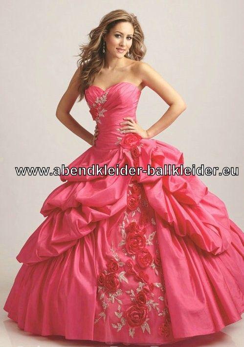 Pinkes Ballkleid Brautkleid Mit Blumen Stickereien  Ballkleid